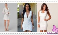 2019 Beyaz Mini Abiye Elbise  Modelleri