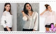 2019 Beyaz Şifon Gömlek Modelleri