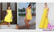 Sarı  Mezuniyet Gecesi Abiye Elbise Modelleri